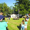 The flag gets raised over Camp Tapawingo for the first time in five years in opening ceremonies for a fall event held recently at the camp. Organizers hope it will be the kickoff to many more flag raisings and a reopening of the long-dormant camp. <br><br>(P-R Photo/Bruce Rowland)