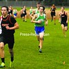 Plattsburgh High's Jeriqho Gadway (left) has a slight lead on Seton Catholic's Mitchell Ryan and Barrett Waling during a CVAC cross country meet at the Plattsburgh State Field House Friday. Ryan took first, followed by Gadway and Waling. Bonus photos will be available midday Monday at pressrepublicanphotos.com.<br><br>(Staff Photo/Ryan Hayner)