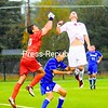 Fredonia goalkeeper Bobby McGinnis and Plattsburgh State's Pat Shaughnessy (white jersey) both leap for the ball during a SUNY Athletic Conference men's soccer game on Friday at the Field House. Also pictured is Fredonia's Rejean Archambeault (4). The Cardinals won, 4-1. Bonus photos will be available midday Monday at pressrepublicanphotos.com.<br><br>(P-R Photo/Rob Fountain)