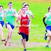 Saranac's Josh Wade (red) and Seton Catholic's Mitchell Ryan (right) lead a group of runners during a four-team Champlain Valley Athletic Conference cross country meet Tuesday at Cadyville Rec Park. Mitchell won the race and Seton earned three wins, but the Saranac boys' team became league champions with two wins. Bonus photos will be available midday at pressrepublicanphotos.com.<br><br>(Staff Photo/Rob Fountain)