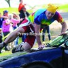 Jamie Recor leaps over top the of a car at the Plattsburgh City Beach during the Rockeater Adventure Race.<br><br>(P-R Photo/Rob Fountain)