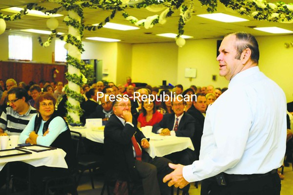 Gerald Morrow, chairperson of the 2012 United Way Campaign, officially begins the fundraising season at the agency's Campaign 2012 Kickoff Breakfast held at the American Legion Post 20 on Friday morning in Plattsburgh.<br><br>(Staff Photo/Kelli Catana)