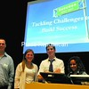Peru High School students Kevin Cangro, 19 (from left); Callie Garcia, 18; Nick Rheaume, 18; and Miranda Almodovar, 18, led seminars on leadership at the College For Every Student event for area high-schoolers.<br><br>(Staff Photo/Kelli Catana)