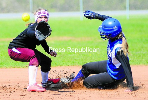 Peru's Taylor Rock (right) slides in safely to second on a stolen base as Northeastern Clinton's Kortney Rabideau receives the throw during a CVAC softball game Saturday in Peru. The Indians won, 11-4.<br><br>(P-R Photo/Rob Fountain)