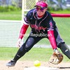 Plattsburgh State shortstop Brittany Marshall fields an infield rounder during the Cardinals' doubleheader sweep of Union College on Sunday.<br><br>(P-R Photo/Gabe Dickens)