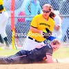 Plattsburgh State's Dana Mandery makes it back to first as Brockport first baseman Emily Dumas catches the ball on an attempted pick-off duirng the first game of a SUNYAC softball doubleheader Saturday. The two teams split.<br><br>(P-R Photo/Rob Fountain)