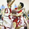 Junghoon Roh (left) and the Plattsburgh State men's basketball team host Oneonta tonight in SUNYAC action. Roh, a senior, scored a career-high 19 in a 70-61 win over the Red Dragons earlier this season.<br><br>(P-R Photo/Gabe Dickens)