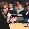 Sen. Betty Little talks with students during the Meet Your State Legislator event at the Peru High School about what is involved in becoming a state representative. Assemblywomen Janet Duprey and Teresa Sayward also participated. The event was put on by the Plattsburgh Area League of Women Voters.  <br><br>(P-R Photo/Rob Fountain)