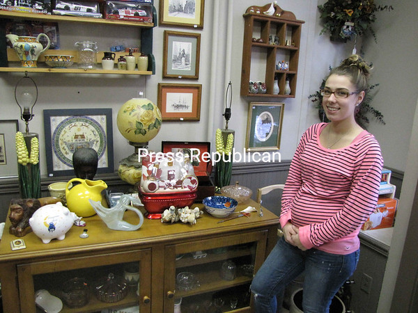 Brittney Besaw opened ABC&R's Showcase, a buy-and-sell antique and collectible shop, at 28 Oak St. in Plattsburgh. They offer Shaklee products, eBay listings, catalog sales, books, DVDs, clocks, glassware, kitchen appliances, antique radios, vintage and modern jewelery, furniture and many other items that can be kept or resold. They are open from 9 a.m. to 7 p.m. Sunday through Thursday and 9 a.m. to 8 p.m. Friday and Saturday. ABC&R's Showcase can be reached at 578-7602.<br><br>(P-R Photo/Bruce Rowland)