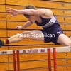 Ticonderoga's Jay Hebert leaps his way to victory in the 55 hurdles in a CVAC indoor track and field meet Saturday at the Plattsburgh State Field House. <br><br>(P-R Photo/Rob Fountain)