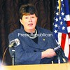 Dede Scozzafava, deputy secretary for local government for the New York State Department of State, answers questions Friday at the North Country Chamber of Commerce in Plattsburgh about the recent State of the State address by Gov. Andrew Cuomo.<br><br>(P-R Photo/Rob Fountain)