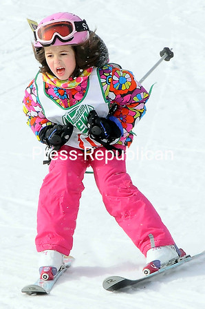 Grace Jolicoeur cruises down the hill through the race course Saturday during the Winter Carnival Ski & Snowboard Race at Beartown Ski Center in Beekmantown. The event included the Kevin Adler Race. The ski center is open Fridays, 6:30 to 9:30 p.m.; Saturdays, 9 a.m. to 4 p.m.; and Sundays, 10 a.m. to 4 p.m.<br><br>(P-R Photo/Rob Fountain)