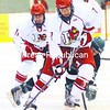 Plattsburgh State's Vick Schlueter skates down the ice with the puck with teammate Ryan Craig trailing during a men's hockey game against Castleton at Stafford Ice Arena Friday. The Cardinals won, 3-2. Bonus photos will be available midday Monday at www.pressrepublicanphotos.com.<br><br>(P-R Photo/Rob Fountain)