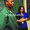 Laura Whalen, program supervisor for the Network program at Clinton Correctional Facility, talks about inmate Quintrell Joe's progress recently in Dannemora. <br><br>(P-R Photo/Rob Fountain)