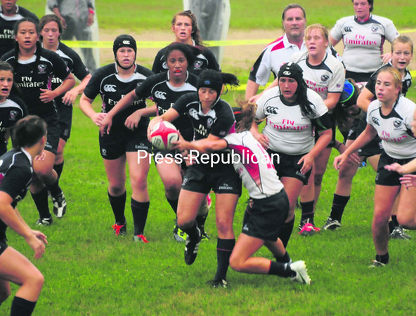 The U.S. U20 Women's National Team competes in an intrasquad game Thursday at Ken Wilson Field in Saranac Lake. The match opened the Can-Am Rugby Tournament, which continues today with play in three divisions.<br><br>(P-R Photo/Jack LaDuke)