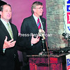 Matt Doheny (left), Republican candidate for the 21st Congressional District seat, was endorsed by 2010 Conservative Party candidate Douglas Hoffman (right) at a press conference Thursday. Doheny is challenging   incumbent Bill Owens (D-Plattsburgh).<br><br>(Staff Photo/Kelli Catana)