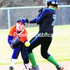 Finger Lakes Ciommunity College runner Amalia Dolley (7) is safe at second base as Clinton Community College second baseman Kim Hart is unable to make the play during Saturday's softball doubleheader. Finger Lakes won both games.<br><br>(P-R Photo/Rob Fountain)