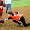 Moriah's Jasmine Callis (1) safely makes it to third as Plattsburgh's Cieara Duquette (4) tries to apply the tag during Wednesday's CVAC softball game. The Hornets captured a 9-2 win over the Vikings.<br><br>(P-R Photo/Rob Fountain)