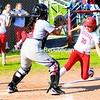 Saranac's Hope Cayea (36) beats the throw home to Beekmantown catcher Hannah Newgarden during a CVAC softball game Friday. The Chiefs won, 15-0.<br><br>(P-R Photo/Rob Fountain)