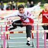 Saranac Lake's Vanessa Salamy wins the 100-meter hurdles during a CVAC girls' track and field meet against Saranac Tuesday. The Chiefs won, 70-62.<br><br>(P-R Photo/Rob Fountain)