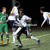 Lake Placid's Haile Thompson (15) and Nzoni Thompson (8) celebrate one of Haile's goals in the Section VII Class C boys' soccer championship game Thursday. The Blue Bombers won 2-0.<br><br>((P-R PHOTO/ROB FOUNTAIN))