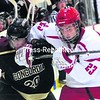 Plattsburgh State freshman Luke Baleshta (23) battles with a Concordia player during an exhibition last week. The Cardinals open the regular season tonight against Morrisville.<br><br>(P-R PHOTO/ROB FOUNTAIN)