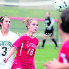 Plattsburgh State's Renee Egan (16) looks to hold off Oswego's Raquel Vescio (3) during Saturday's SUNY Athletic Conference women's soccer game. The Lakers  knocked off the Cardinals, 2-1.<br><br>(P-R Photo/Gabe Dickens)
