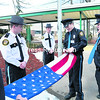CV-TEC students Michael Phillips, Zack Heinds, Shane Varin, Lance Hackett and Joe Murtagh (from left) take part in a flag ceremony outside the Plattsburgh campus as a part of the Security and Law Enforcement Academy, a two-year program that includes instruction in corrections, law enforcement and homeland security. Along with the ceremonial raising and lowering of the colors, cadets also perform security duties on campus and in the community during the course, which is recognized as a New York State Division of Criminal Justice Services Security Guard Training School and provides a number of certifications.<br><br>(P-R PHOTO/GABE DICKENS)