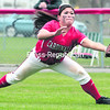 Plattsburgh's Kristin Nabor dives for a shallow fly ball in right field during the first game of Saturday's doubleheader against Fredonia at Cardinal Park. The Cardinals split with the Blue Devils in SUNYAC softball.<br><br>(P-R PHOTO/GABE DICKENS)