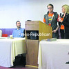 """The Biggest Loser"" season 5 contestants Jackie Evans and Dan Evans, mother and son, discuss how the program changed their lives. They were in Plattsburgh to promote the Biggest Loser RunWalk event scheduled for June 9. Joining them are (from left) North Country Chamber of Commerce Group Marketing Specialist Kristy Kennedy, City Recreation Department Director Steve Peters and (hidden by podium) Mayor Donald Kasprzak. The event is one of many around the country, hosted here by the City of Plattsburgh Recreation Department and the Adirondack Coast Visitors Bureau.<br><br>(Staff Photo/Dan Heath)"