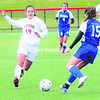 Plattsburgh State's Lauren Gonyea (19) tries to control the ball during a game last season. Gonyea is one of the Cardinals' few seniors this year, but the younger players are expected to provide big contributions.<br><br>(File photo)