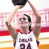 Beekmantown's Shannon Ryan lines up a shot from the foul line which would be her 1,000th career point at the varsity level during a Champlain Valley Athletic Conference girls' basketball game Tuesday against Saranac. The Eagles defeated the Chiefs, 45-36.<br><br>(P-R PHOTO/ROB FOUNTAIN)