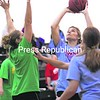 Arlene Phillips of the blue team shoots a shot as Mika Mannix of the green team attempts to defend during the women's game of the 22nd Annual Pat Ward Classic. Due to another team not being fielded, Westport won the women's portion of the tournament by forfeit.<br><br>(P-R Photo/Alvin Reiner)