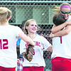 The Saranac Chiefs girls' softball team celebrate their 1-0 victory over Peru during Thursday's Class B championship game at Cardinal Park.Saranac's Ashley Terry scored game-winner in the sixth inning.<br><br>(P-R PHOTO/GABE DICKENS)