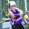 Ticonderoga outfielder Andrea Rich takes a swing at a pitch during Thursday's Class C girls' softball championship game at Cardinal Park. TheSentinels defeated Lake Placid, 8-7, in nine innings.<br><br>(P-R PHOTO/GABE DICKENS)