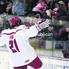 Plattsburgh State's Dillan Fox celebrates after scoring a goal against Brockport during Saturday's SUNY Athletic Conference men's hockey game at the Ronald B. Stafford Ice Arena. The Cardinals won by a score of 6-0.<br><br>(P-R PHOTO/GABE DICKENS)
