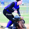Ticonderoga's Haleigh Wright tags out Plattsburgh High's Hannah Duquette on a stolen-base attempt during Friday's Champlain Valley Athletic Conference game at South Acres Field in Plattsburgh. The Sentinels won 7-4.<br><br>(GABE DICKENS/P-R PHOTO)