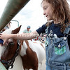 Isabel Bresett, 6, of Saranac Lake, grooms Cowboy, a miniature horse from Red Oak Farm in Schuyler Falls, during A Day on the Farm at Maple Grand Farms in Peru Saturday afternoon. The event also featured tours, hay rides, agricultural exhibits, raffle and more. Maple Grand Farms, a member of the Agri-Mark Co-op, produces milk that is used to create McCadam and Cabot cheese. (GABE DICKENS/P-R PHOTO)