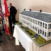 The 5-foot-long scale model of the Old Stone Barracks created by artist Joyce Bertoli, was on display during a Noon Rotary Club luncheon at the Butcher Block in Plattsburgh recently. The Old Stone Barracks built in 1838 is being remodeled to house the Valcour Brewing Company.  <br><br>(ROB FOUNTAIN/STAFF PHOTO)
