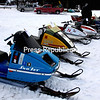 Several of the vintage snowmobiles are displayed here at a rally to support the North Country SPCA held on the Cobble Hill Golf Course.<br><br>(ALVIN REINER/P-R PHOTO)