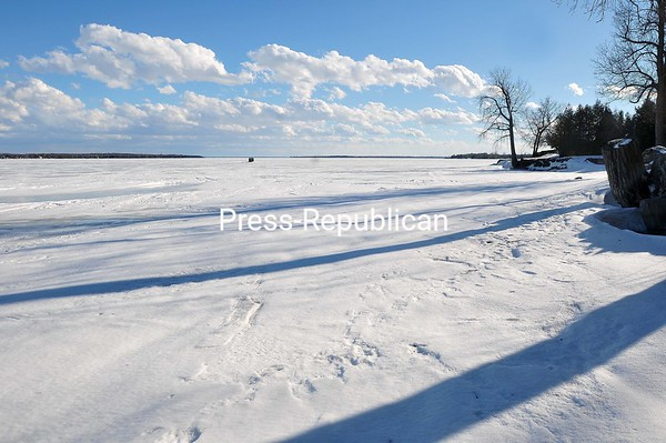 A lone ice angler sits on a frozen Lake Champlain in Chazy Landing.<br><br>(ROB FOUNTAIN/STAFF PHOTO)