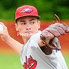 Beekmantown pitcher Zach Bingel delivers a pitch during a Section VII Class B semifinal against Saranac in Beekmantown Monday. <br /> <br /> (ROB FOUNTAIN/STAFF PHOTO)