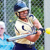 Lake Placid's Cheyenne Blair laces a line drive to center field for a hit against Minerva/Newcomb during Friday's Section VII Class D matchup at Cardinal Park in Plattsburgh. The Blue Bombers won 7-2.