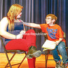 Characters Sarah (Sarah Drake) and Jonathan (Jon Gibbs) talk about bullying during a rehearsal for On Common Ground at Moriah Central School. The anti-bully players are visiting area schools to perform their play. (Lohr McKinstry/Staff Photo)