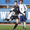 Plattsburgh's Hannes Kurzmann lines up a volley during a NYSPHSAA Boys Soccer Championships Class B semifinal played at Middletown High School on Saturday, November 14, 2015. Plattsburgh advanced to the championship game with a 2-1 win over Skaneateles-III.<br /> <br /> by Adrian Kraus