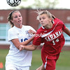 Saranac's Kayla Myers (right) heads the ball back upfield while being defended by Peru's Anna Mitchell during Friday's Northern Soccer League game at Peru Central School. (GABE DICKENS/P-R PHOTO)