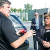 State Inspector General Catherine Leahy Scott talks with Clinton County Sheriff Dave Favro outside Clinton County Jail in Plattsburgh Friday morning before heading inside to interview Joyce Mitchell. Scott's office is conducting an investigation into Richard Matt and David Sweat's escape from Clinton Correctional Facility back in June. Mitchell, who pleaded guilty to helping them, will be sentenced on Monday. (GABE DICKENS/P-R PHOTO)