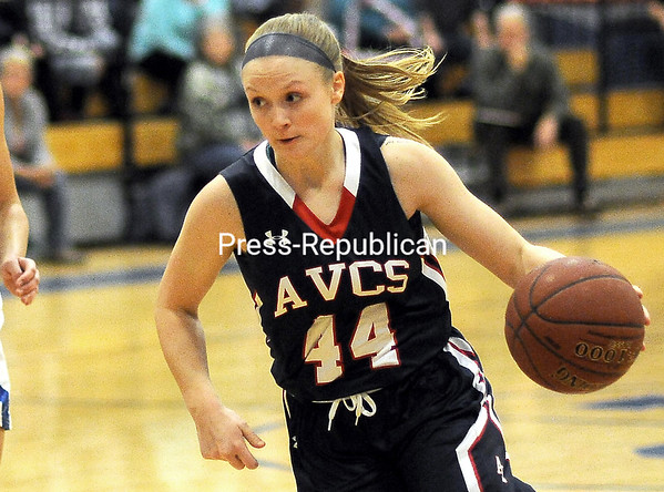 ROB FOUNTAIN/STAFF PHOTOs 12-28-2016<br /> AuSable Valley's Madison McCabe drives to the hoop against Peru during a non-conference girls basketball game Tuesday.