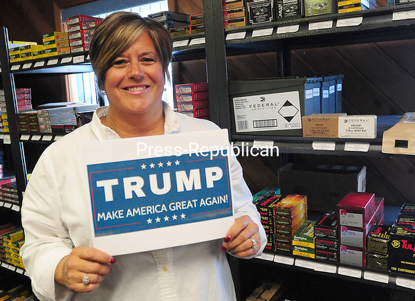 ROB FOUNTAIN/STAFF PHOTO 4-14-2016<br /> Rhonda Barber isn't shy about her passion for presidential hopeful Donald Trump. The co-owner of X-Plo/E-Z Sto Inc., who scored VIP tickets to the Republican front-runner's possible Plattsburgh rally, believes he deeply loves his country and would serve America well.