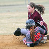ROB FOUNTAIN/STAFF PHOTO 4-13-2016<br /> Plattsburgh High's Hannah Duquette (20) steals second base under Northeastern Clinton's Shaylyn Rowe (15) Tuesday during CVAC softball action at South Acres. See bonus photos at pressrepublicanphotos.com.